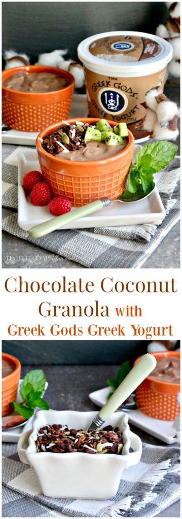 Chocolate coconut granola with pumpkin seeds, carob nibs and coconut flakes #granola #yogurt   thefoodieaffair.com