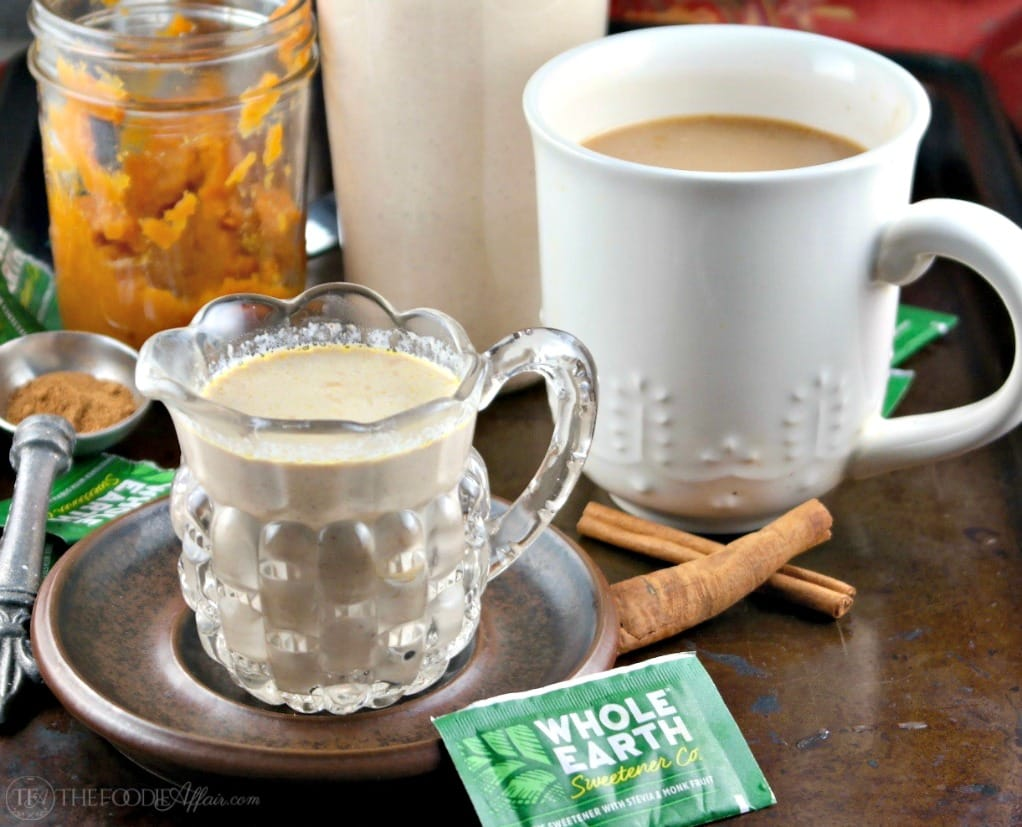 Low sugar homemade pumpkin spice coffee creamer #pumpkin #coffee #creamer #ad | thefoodieaffair.com