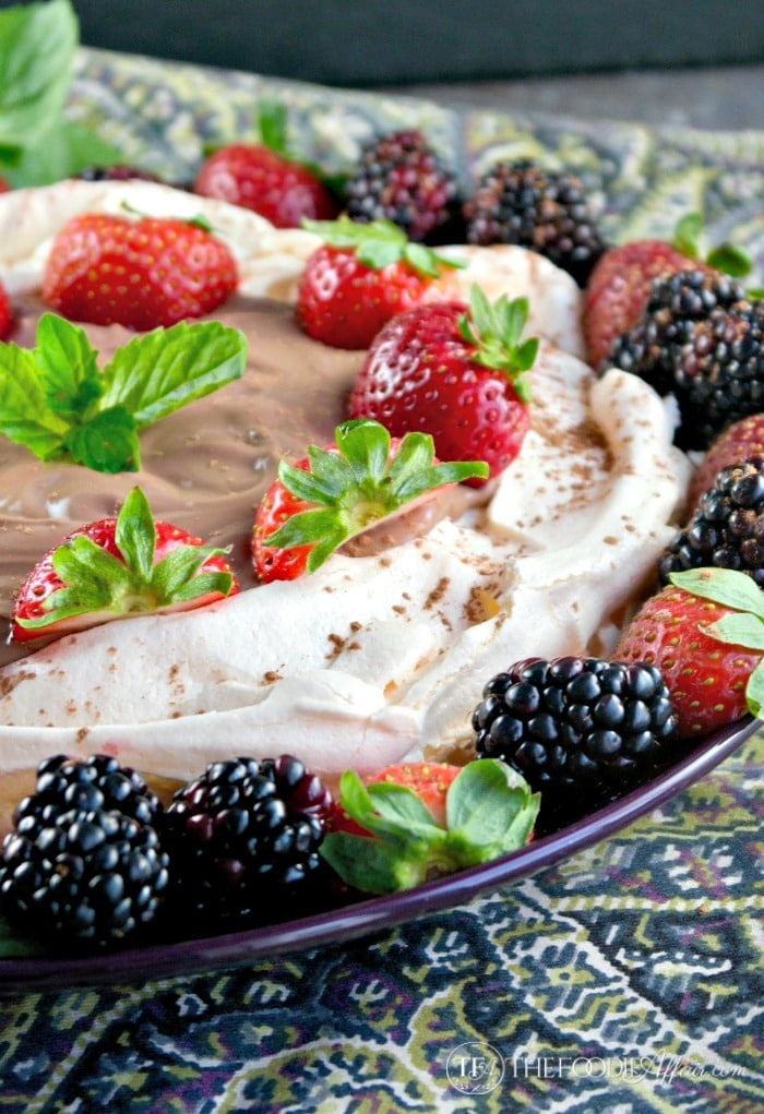 Easy Pavlova Dessert with chocolate yogurt and fresh fruit #pavlova #meringue #ad | thefoodieaffair.com