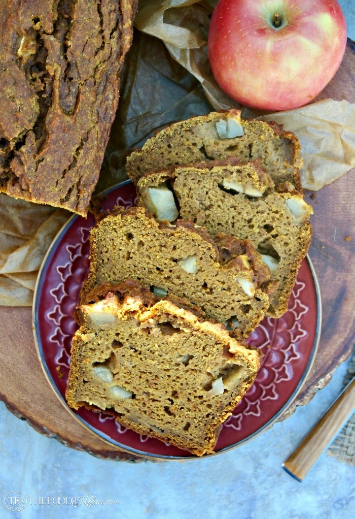 Whole Wheat Pumpkin Apple Bread with spices and chunky apple slices