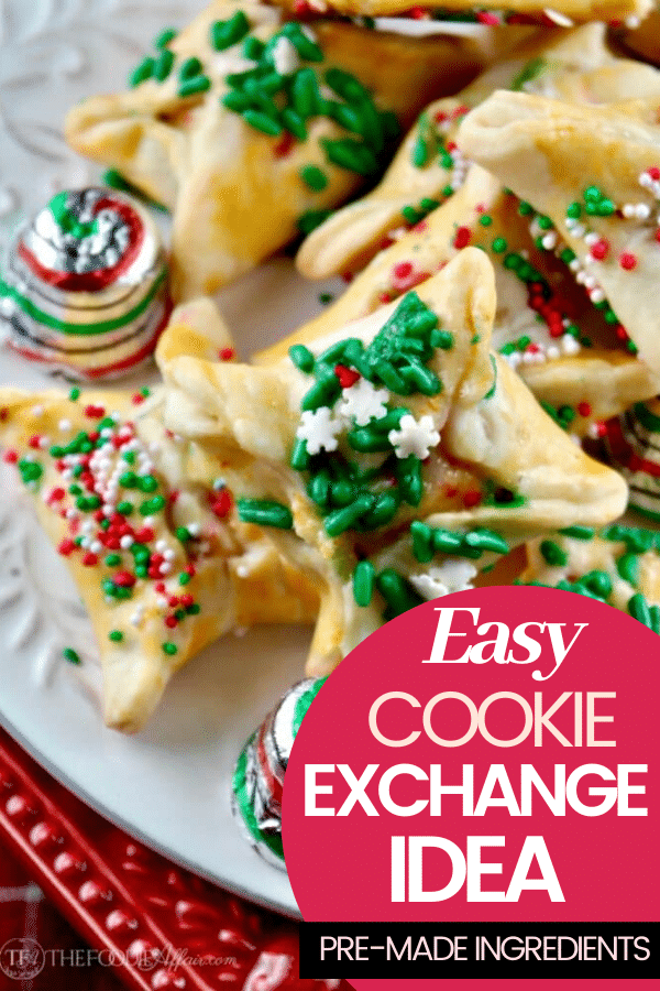 Easy Christmas cookie for cookie exchange recipe! Wrap a chocolate candy in prepared pie crust forming a wonton and decorate with colorful jimmies! #cookies #christmas #exchange #easyrecipe #treat #simple #thefoodieaffair