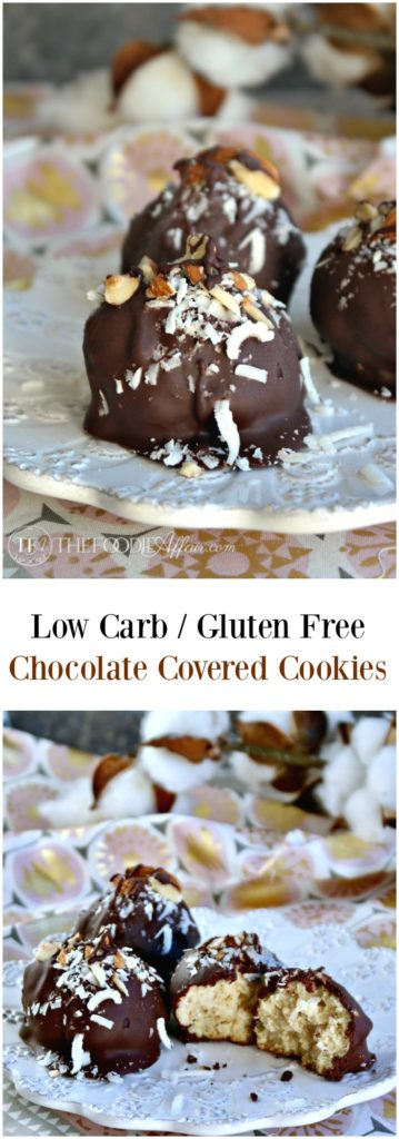 Low carb chocolate covered cookies made with superfine almond flour and coconut flakes #glutenfree #cookies #lowcarb | thefoodieaffair.com
