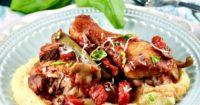 Chicken Cacciatore over creamy polenta #chicken #cacciatore #Italian #Lenox #Ad | www.thefoodieaffair.com