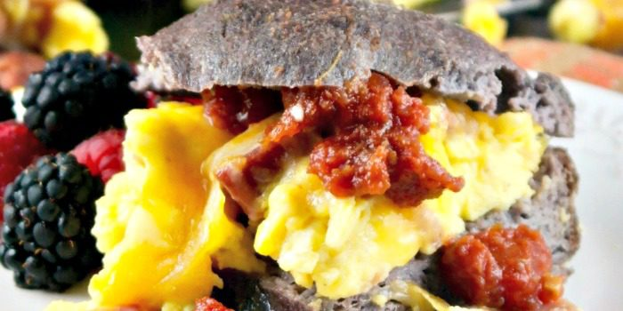 Low Carb Breakfast Sandwich Filled with Fluffy Eggs