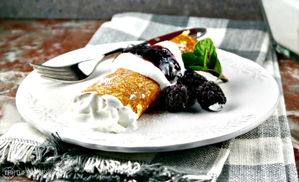 Low Carb Crepes are versatile hearty wraps for sweet or savory fillings. Each crepe is only 2.4 carbs #crepes #lowcarb #dessert |www.thefoodieaffair.com