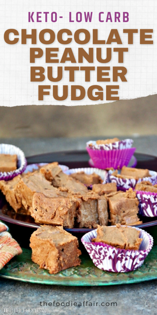 Keto peanut butter fudge is a no bake treat with chocolate. This fabulous combination is a delicious filling snack that both low carb and sugar free followers will love! #keto #lowcarb #fudge #peanutbutter