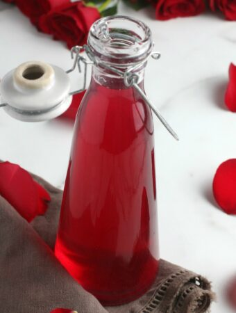 Photo of the completed recipe for how to make rose water at home.
