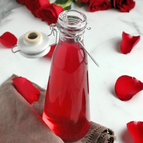 This jar full of DIY rose water is finished and ready to be used!