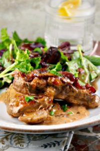Simple Skillet Pork Chops with caramelized onions and bacon #skillet #keto #recipe #pork   www.thefoodieaffair.com