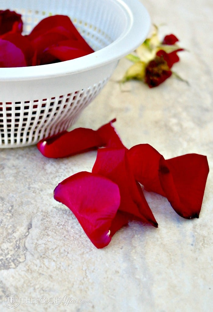 Fresh rose petals for homemade rose water #diy #recipe #rosewater | www.thefoodieaffair.com