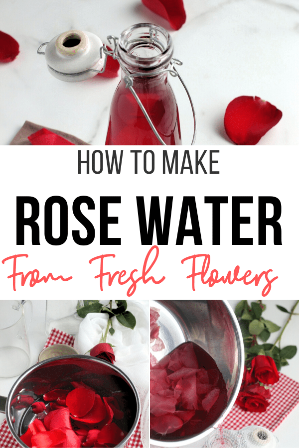 Don't throw those beautiful rose petals away! Make fresh rose water that can be used in recipes and in diy beauty products like a homemade toner. #diy #rosewater
