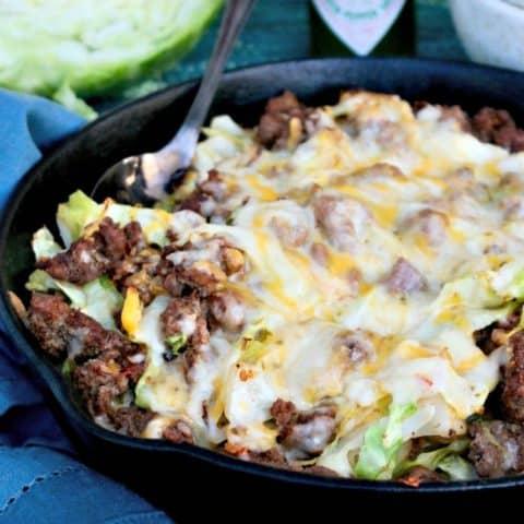 hamburger cabbage recipe in an iron skillet
