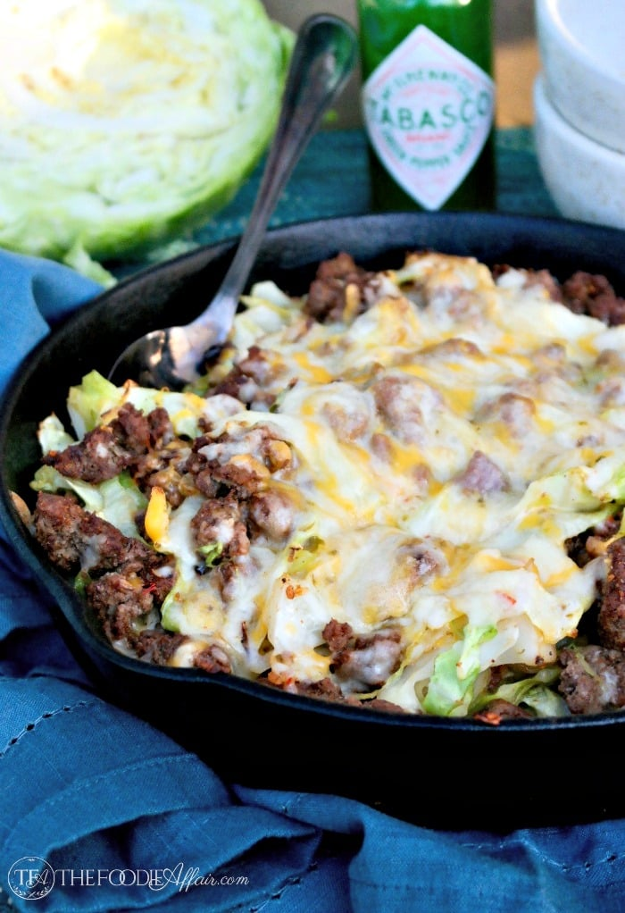 Tex Mex cabbage beef skiillet in a cast iron pan