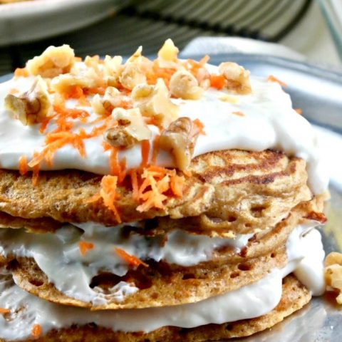 Silver plate of carrot cake pancakes