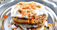 Enjoy a serving of these Carrot Cake Protein Pancakes Topped with Honey Yogurt #pancakes #Ad #RethinkSweet #brunch | www.thefoodieaffair.com