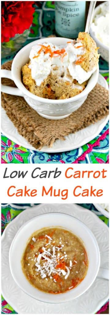 Low Carb Carrot Cake Mug Cake! Satisfy your sweet tooth without baking a whole cake! #lowcarb #keto #dessert | www.thefoodieaffair.com