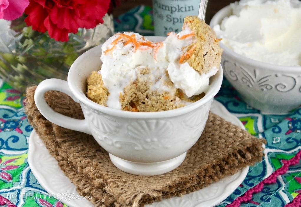 27 Low Carb Mug Cake Recipes: Low Carb Carrot Cake Mug Cake With Whipped Cream