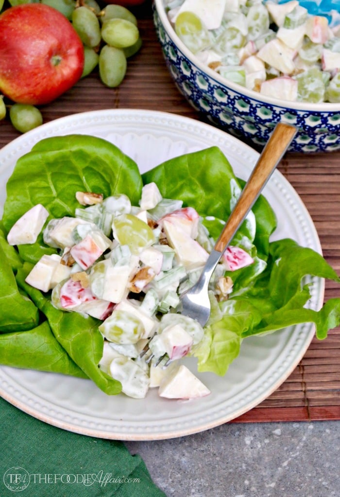 Classic Waldorf Salad served as a first course #salad #apple #waldorf | www.thefoodieaffair.com