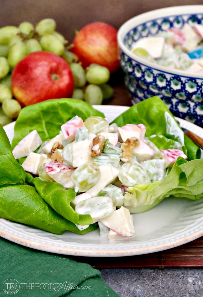 Classic Waldorf Salad With Fresh Crunchy Apples Over Bib