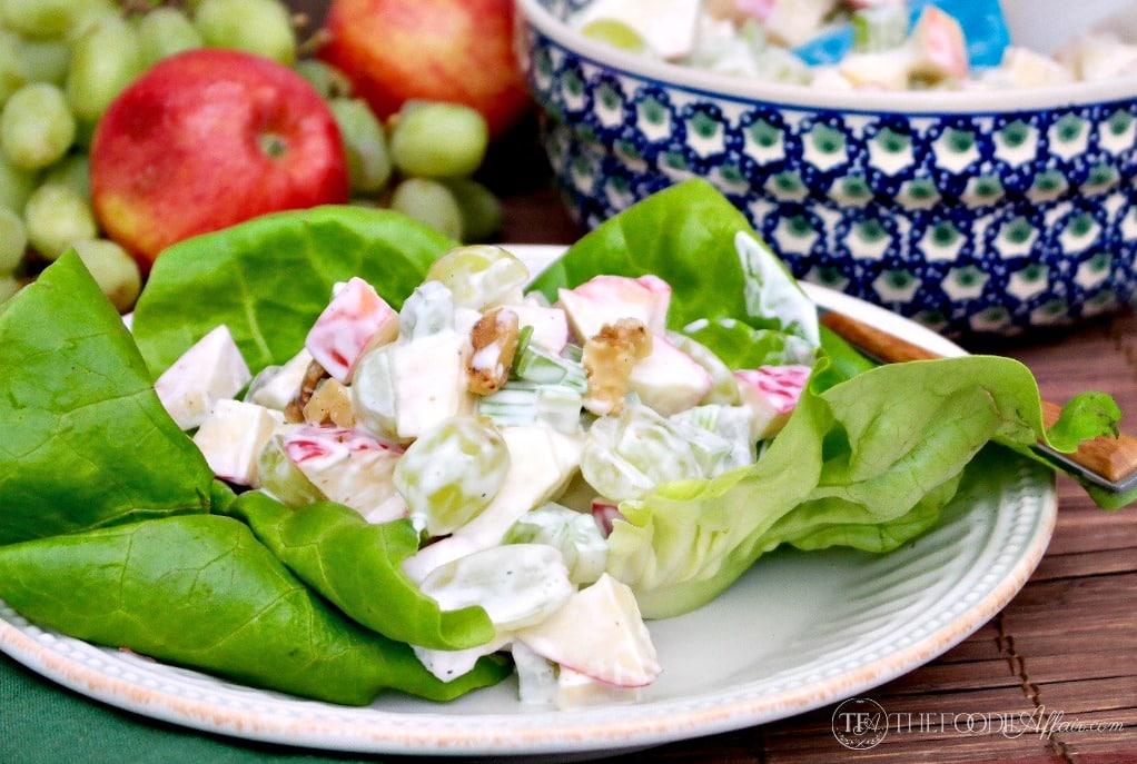 Classic Waldorf Salad makes a light spring meal #salad #waldorf #apple | www.thefoodieaffair.com