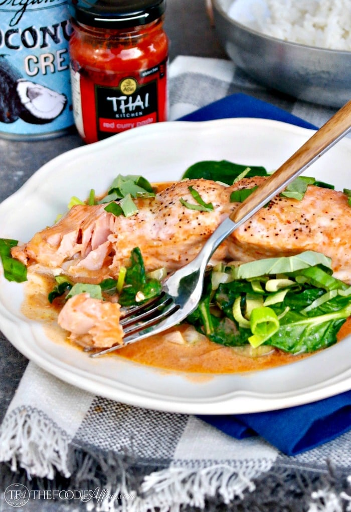 Salmon Coconut Red Curry Sauce tastes like a delicious Thai dish from a restaurant! #thai #salmon #easyrecipe | www.thefoodieaffair.com
