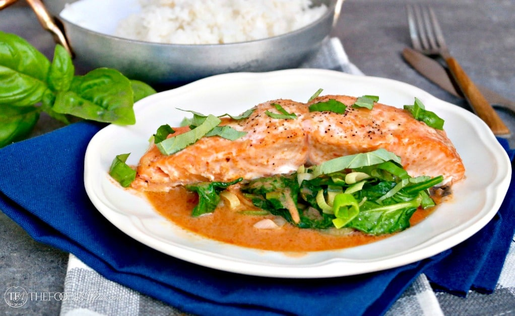 Salmon Coconut Red Curry Sauce is a simple and flavorful dish that is bound to be a family favorite! #seafood #salmon #curry | www.thefoodieaffair.com
