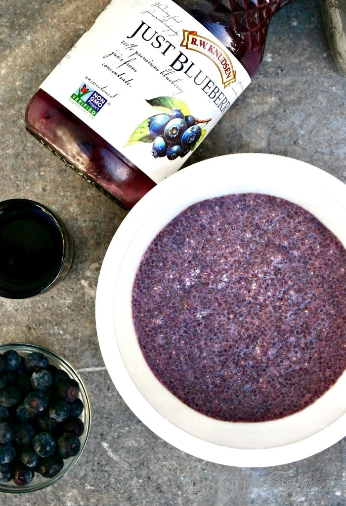 Blueberry Chia Pudding made with fresh juice