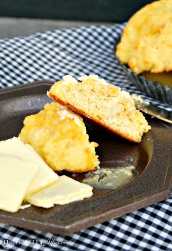Low Carb Cheddar Biscuits made with superfine almond flour! #lowcarb #keto #cheddar | www.thefoodieaffair.com