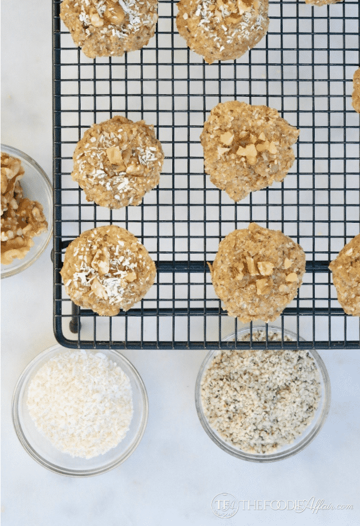 Keto Breakfast Cookies with hemp seeds, coconut and walnuts should be cooled sightly on a baking rack before storing in an airtight container #keto #lowcarb | www.thefoodieaffair.com