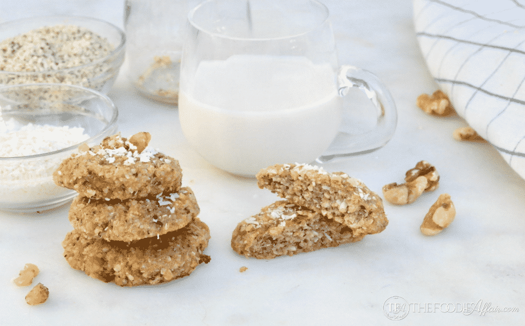 Keto Breakfast Cookies provide a quick and nutritious start to your day. Enjoy with a cup of dairy-free milk #hemphearts #grainfree #keto | www.thefoodieaffair.com