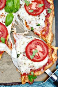 Low Carb Pizza Dough Recipe with caprese topping #pizza #keto | www.thefoodieaffair.com