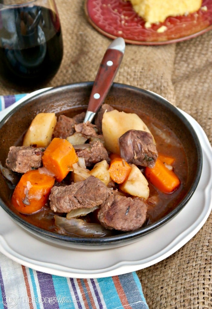 Pressure Cooker Beef Stew with potatoes and carrots