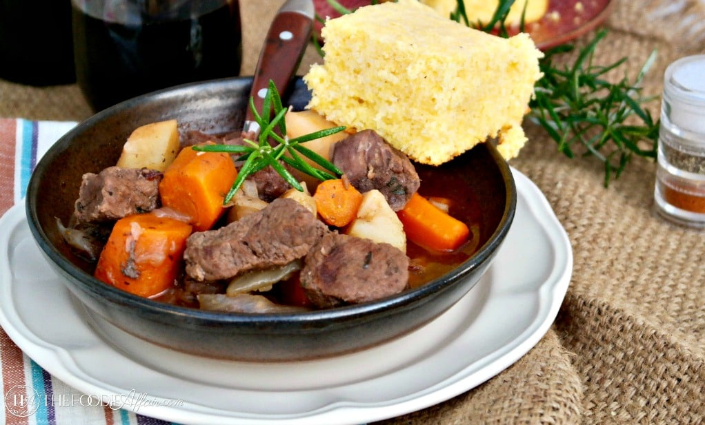 pressure cooker beef stew with cornbread