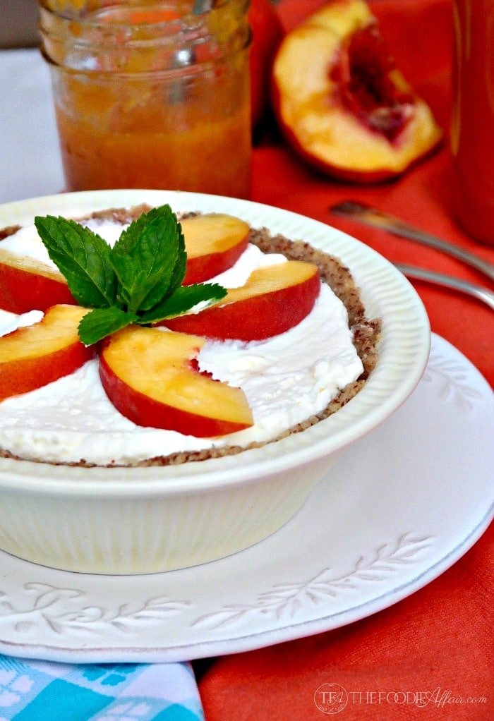 Low Carb No Bake Cream Pie Topped with Peaches