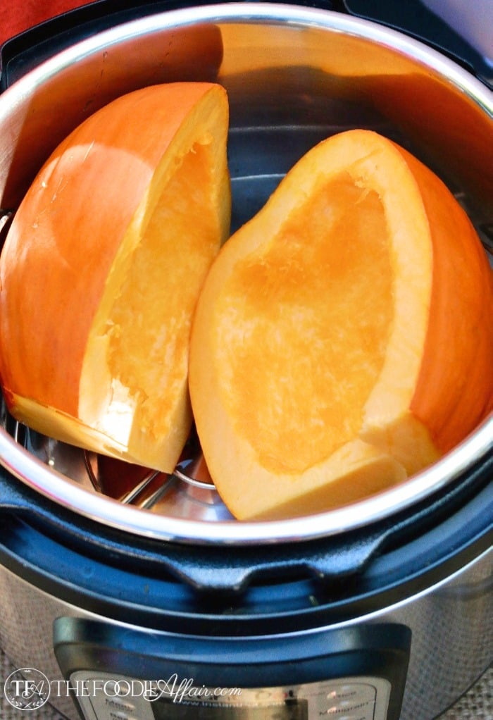 Pressure Cooker Pumpkin Puree prepared for steaming only takes six minutes to cook #InstantPot #PressureCooker #Pumpkin | www.thefoodieaffair.com