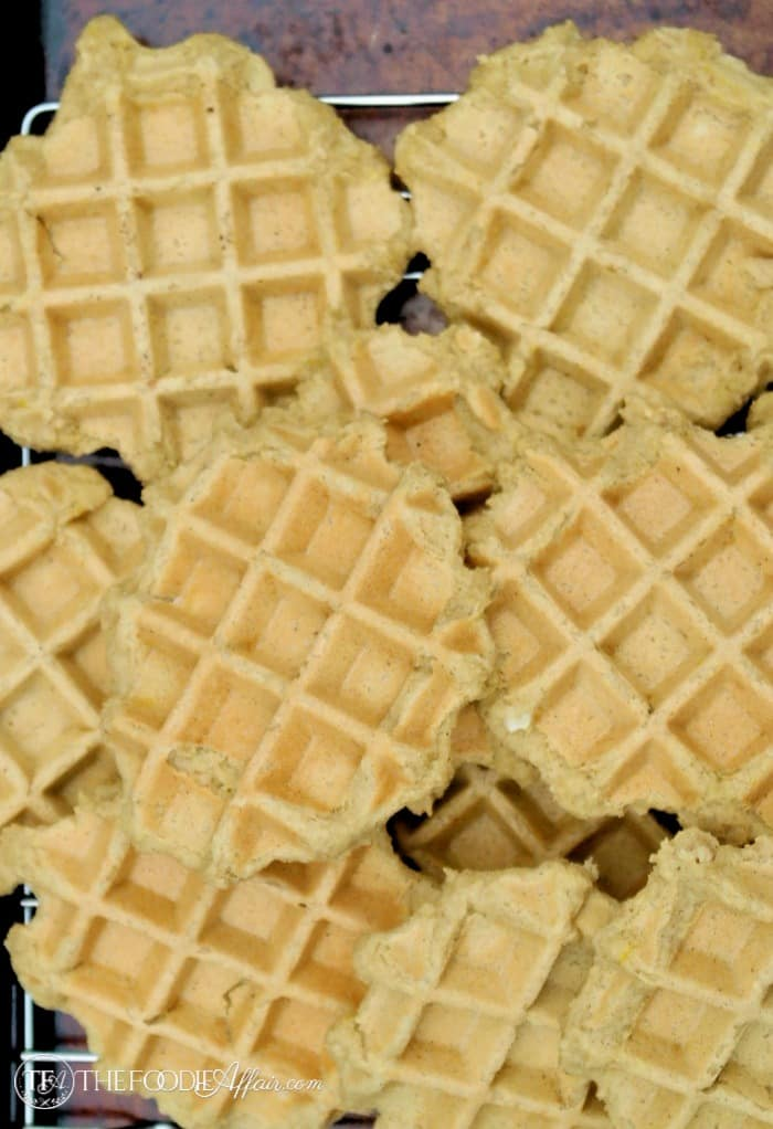 Plain low carb waffles cooked cooling on a baking rack