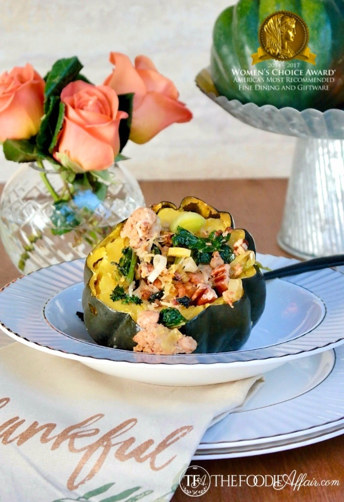 Chicken Sausage Stuffed Acorn Squash in a gray rimmed Lenox China bowl #Squash #Sausage | www.thefoodieaffair.com