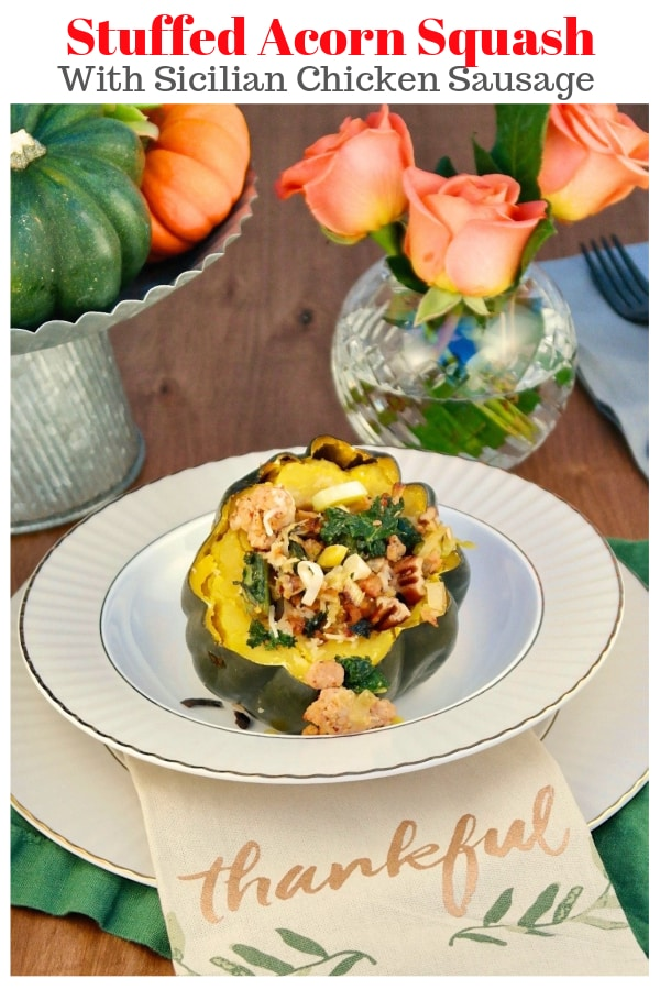Sausage Stuffed Acorn Squash recipe is an irresistible fall dish with kale, chopped leeks, and pecans for a complete healthy meal! Enjoy this quick and nutritious dinner mid-week or serve for guests at your next holiday party! #acornsquash #Fallrecipe #Thanksgiving #sausage #easyrecipe   www.thefoodieaffair.com