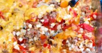 low carb unstuffed bell pepper casserole with cauliflower crumbles for a low carb meal! #StuffedPeppers #LowCarb #casserole | www.thefoodieaffair.com