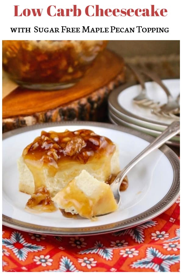 Sugar Free Cheesecake bar with maple pecan topping #glutenfree #Keto #LowCarb | www.thefoodieaffair.com