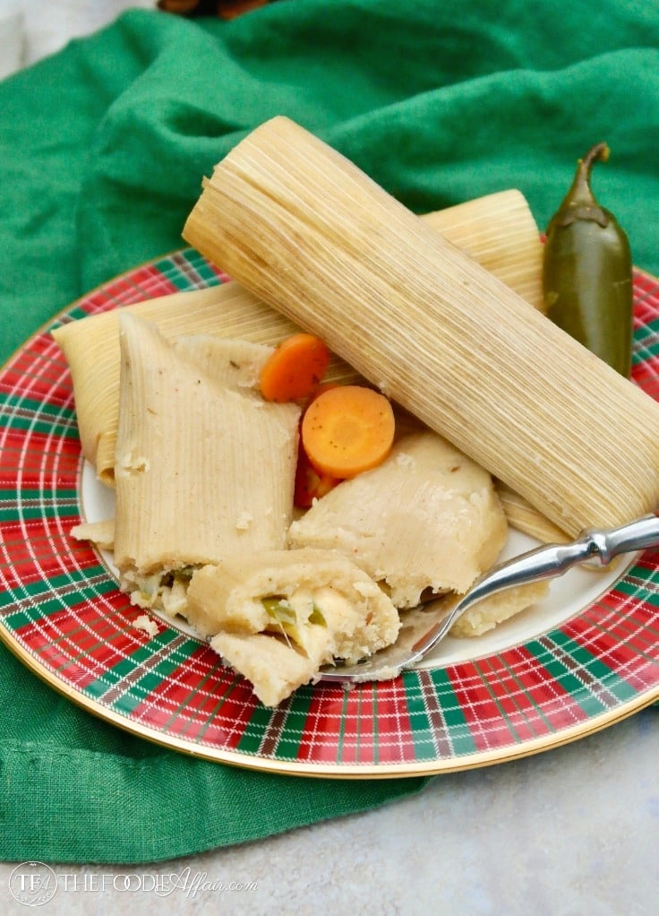 Cheese and jalapeño homemade tamales #recipe #homemade #tamales | www.thefoodieaffair.com