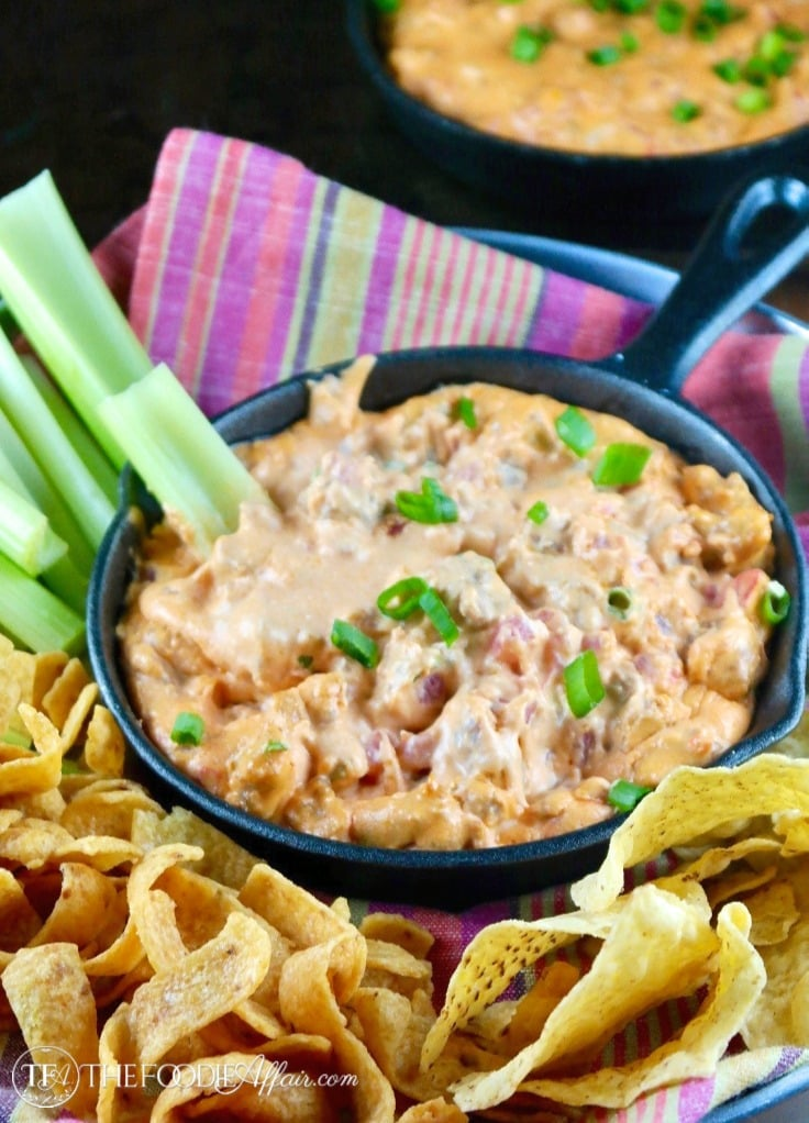 Sausage Queso Dip in a mini cast iron skillet surrounded with chips and celery #sausage #Appetizer #Mexican | www.thefoodieaffair.com