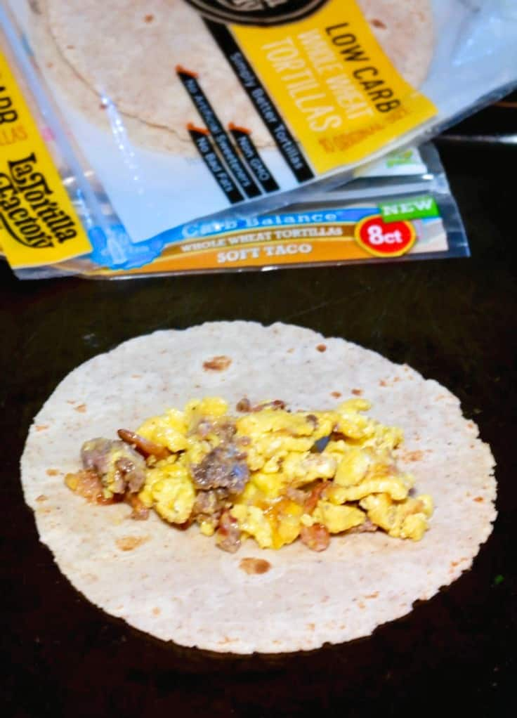 Healthy breakfast casserole filling in a low carb tortilla