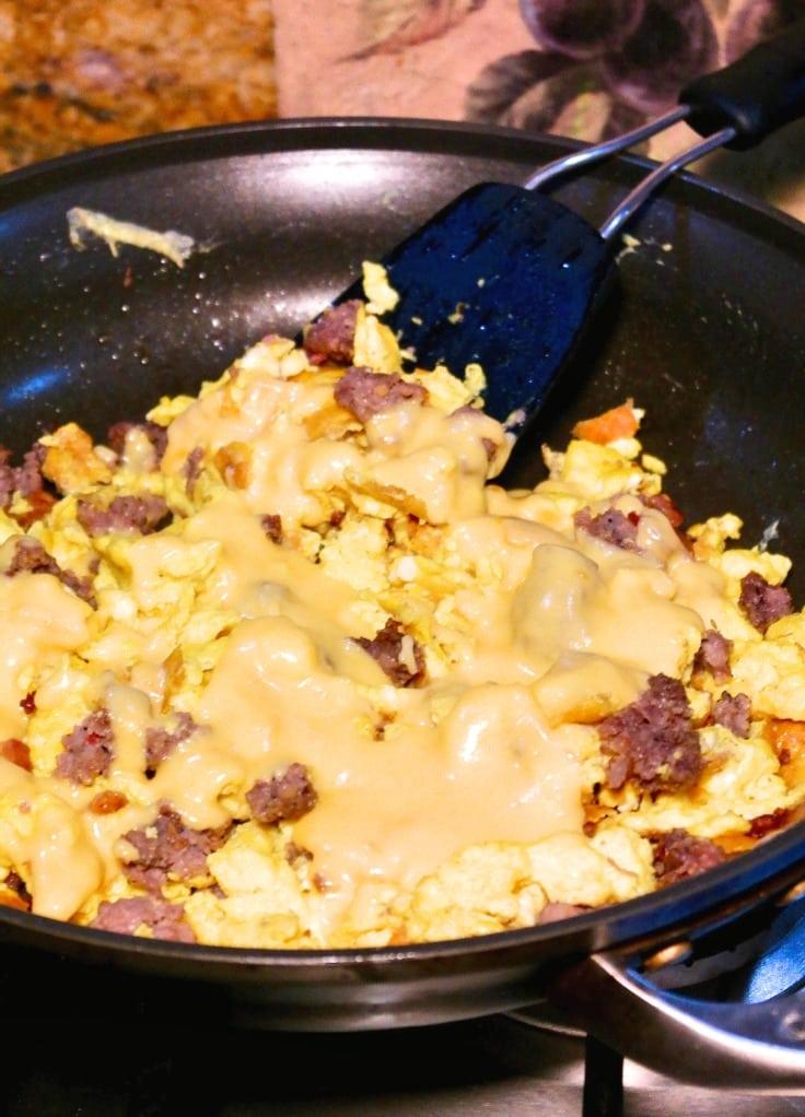 healthy breakfast casserole dish filling in a skillet