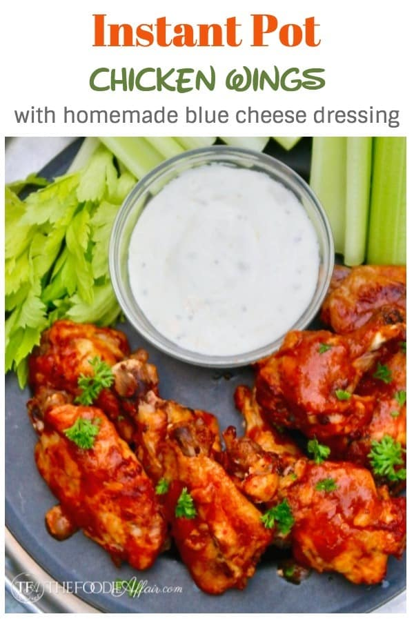 Instant Pot Chicken wings and drummettes ready in under 12 minutes! Easy homemade BBQ sauce and blue cheese dressing for your game day appetizer menu! #instantPot #chickenwings #appetizer | www.thefoodieaffair.com