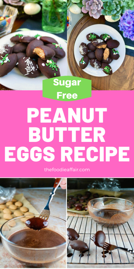 Make this sugar free copycat Reese's peanut butter eggs! No special equipment needed to make these fun Easter treats! #keto #dessert #Easter #sugarfree #chocolate