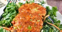 Salmon Patty Recipe on salad plate