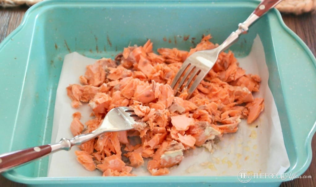 Flaked fresh salmon