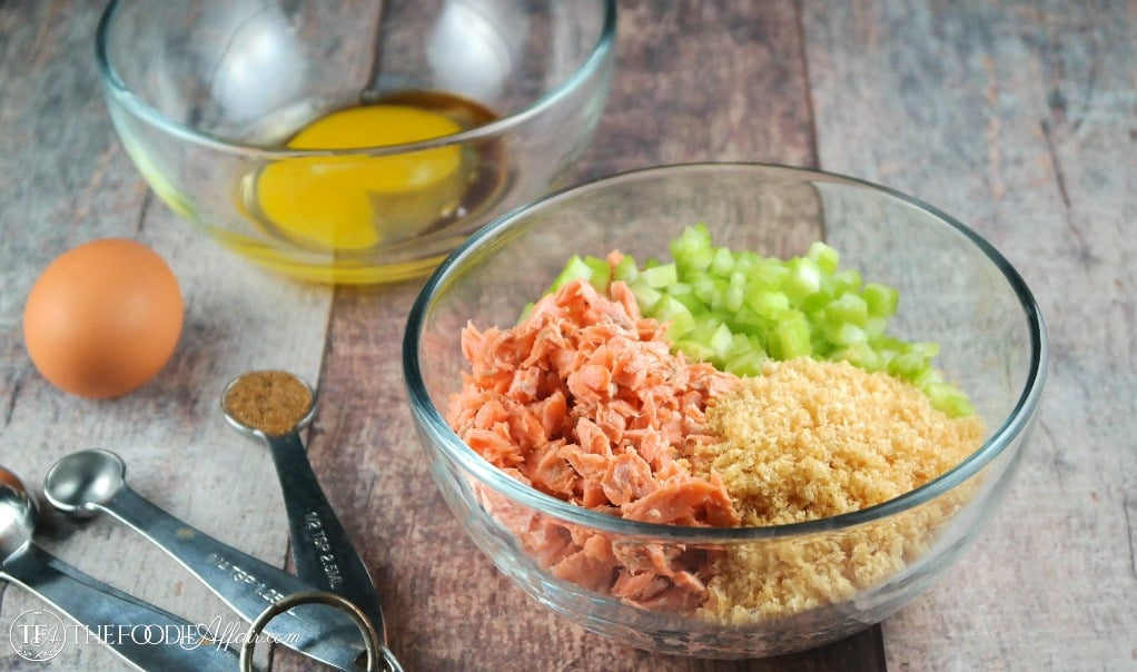 Ingredients for Salmon Patty Recipe in clear bowls