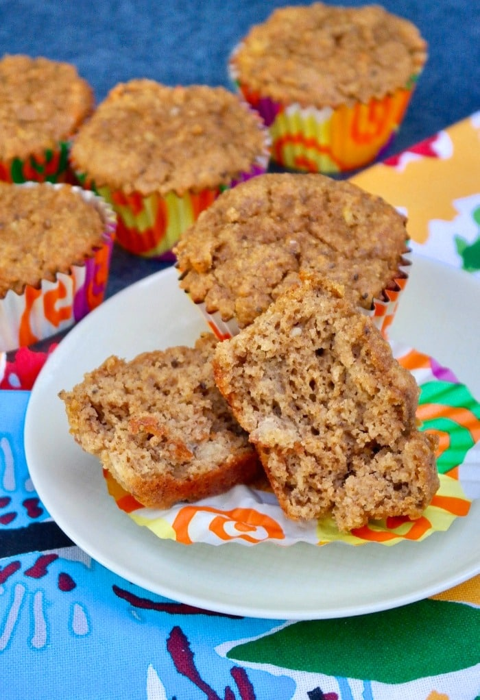 Small batch healthy banana muffins on a plate